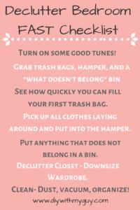 Declutter bedroom Checklist