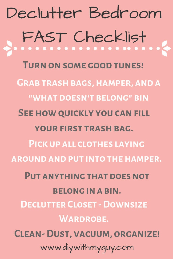 Declutter bedroom Checklist