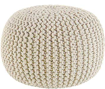 Hand Knitted Cable Pouf - Ivory - Floor Ottoman