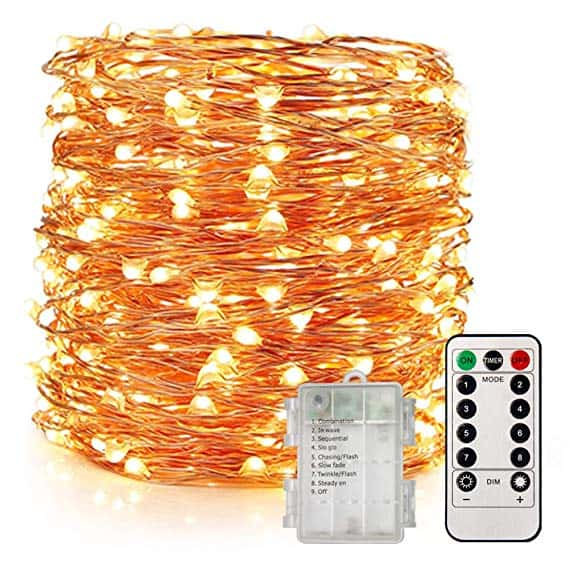 LED Rose Gold Fairy Lights Battery Operated, 8 Modes with Remote Control for Bedroom