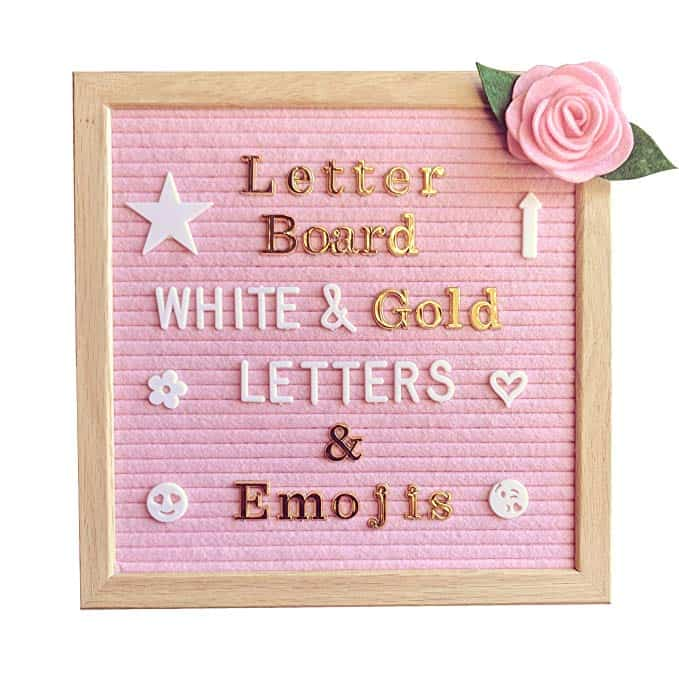 Pink Felt Letter Board with Emojis