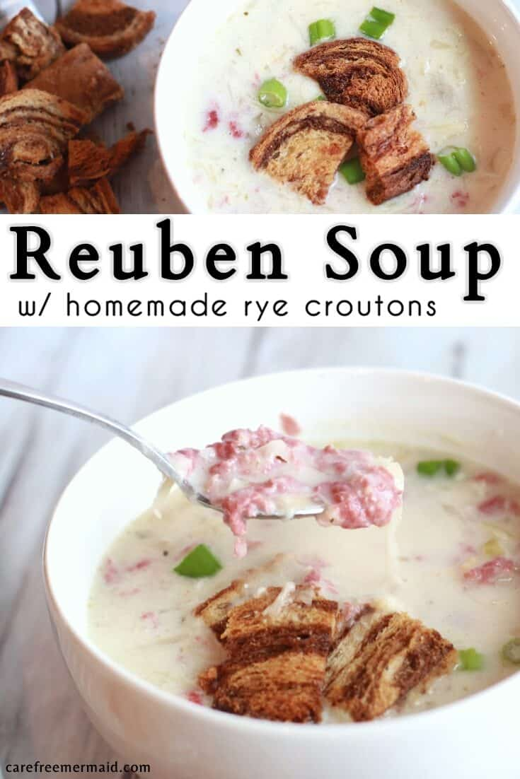 Reuben Soup with Homemade Rye Croutons