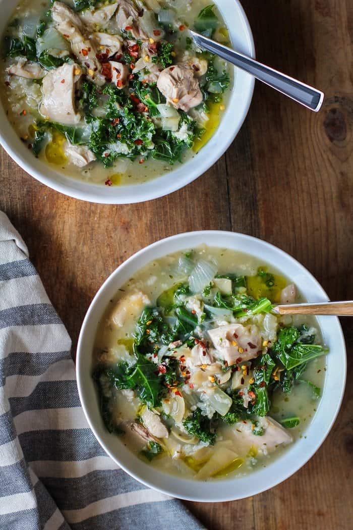 Crock Pot Chicken, Artichoke, and Kale Soup
