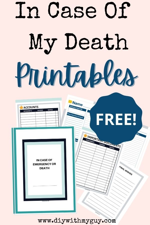 In the event of my death printables